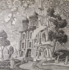 "The sketch for the painting ""Chaine Ryazan Kremlin\"" 35x35 cm, paper, graphite pencil, 2015-2016. Sketch entirely."