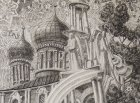 "Assumption Cathedral and Tower with trumpeting angels. A fragment of the sketch for the painting ""Chaine Ryazan Kremlin\"", 2015-2016."