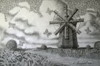 """The Old Mill\"", 24x36 cm, pencil on paper, 2018."