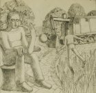 "Sketch for the painting ""The Strugatsky Brothers. A Picnic on the Roadside\"", 22.7x23.4 cm, paper, graphite pencil, 2017."
