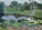 Denezhnikovo Ryazan region. Autumn pond in inclement weather. 22х35 cm, paper, oil. 1993.