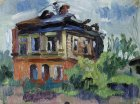 Burnt house on the street Val Kremlin, Ryazan. 22х33 cm, oil on cardboard, 1994.