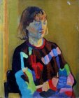 The model in colorful sweater in warm - cold light. 25x18 cm, paper, oil. 1994.