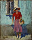 Standing Model with a basket at the open window. Summer plein air sketch. 50x40 cm, coarse canvas. 1995.