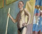 Young man with a pole. Male nude thematic staged model. 50x60 cm, oil on canvas. 1997.