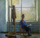 Woman in autumn window. Staged thematic model. 75х81 cm, oil on canvas. 1995.
