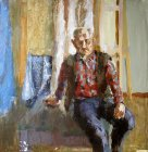 Portrait of elderly man in a plaid shirt. Staged thematic model. 70x70 cm, leatherette oil. 1996.