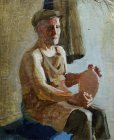 Elderly man - the potter. 60x50 cm, oil on canvas. 1996.