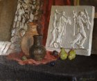 Still life with a plaster frieze and pears. 50х60sm, canvas, oil. 1996.