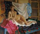 The lying naked girl with draperies. 80х100sm, canvas, oil. 1996.