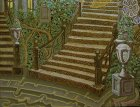 "A fragment of the painting ""Morning.\"" The bottom part of the picture: wrought-iron staircase, a vase of roses, ivy, trees, fancy steps."