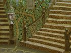 "A fragment of the painting ""Morning.\"" The bottom part of the picture: wrought-iron staircase, ornamental stairs, trees, plaster vase with roses."