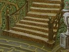 "A fragment of the painting ""Morning.\"" Forged decorative staircase, a vase of flowers, trees, leaves, ivy."