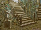 "A fragment of the painting ""Evening.\"" The bottom part of the picture: wrought-iron staircase, vase, flowers, trees, fancy steps."