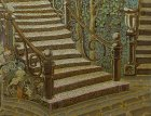 "A fragment of the painting ""Evening.\"" Ornamental wrought-iron staircase."