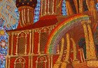 "Window of the Assumption Cathedral, rainbow, columns dancing bell tower. Detail of the painting ""To Chaine of the Ryazan Kremlin\"""