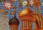 "Domes of the Assumption Cathedral. Morning Stars. Trumpeting angel. Detail of the painting ""To Chaine of the Ryazan Kremlin\"""