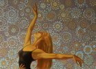 "Picture fragment ""High moments. Modern ballet\"". The dancing girl on an ornamental background."