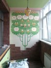 «A Tree The Chestnut». A decorative list on balcony walls.   Acryle, mosaic gold. A private sector. Podgornaja street. Ryazan. 2011.
