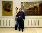 "Alexey Akindinov and model Natalya Lebedeva. At opening of a personal exhibition of Alexey ""Patterns\"""